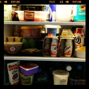 Fridgeful of food in a filmstock frame