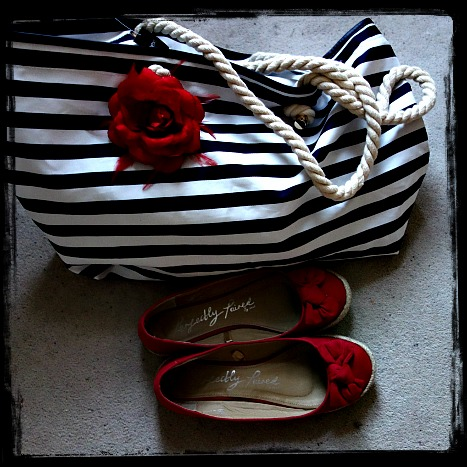 Nautical bag & red shoes