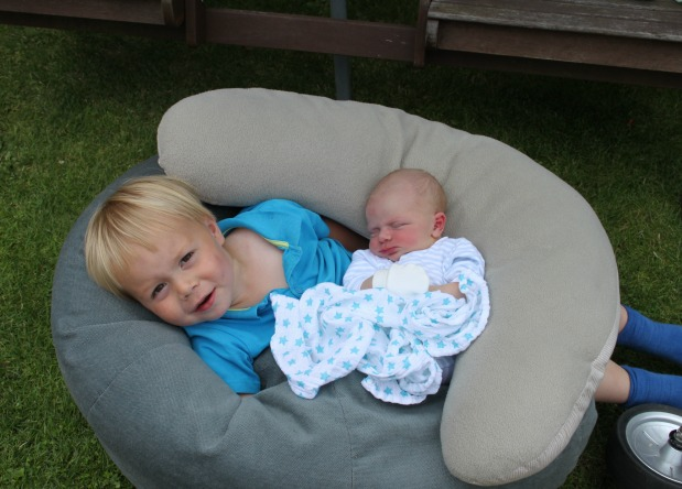 JJ with newborn EJ